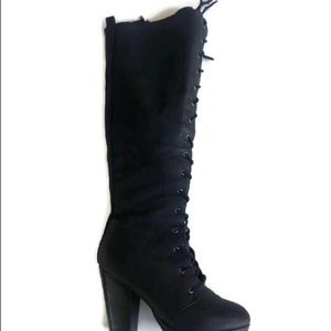 Shoes - Lace up kneehigh black boots.  Fits a little big
